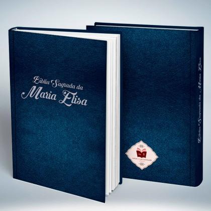 Bíblia Personalizada em Couro Texturizado Azul